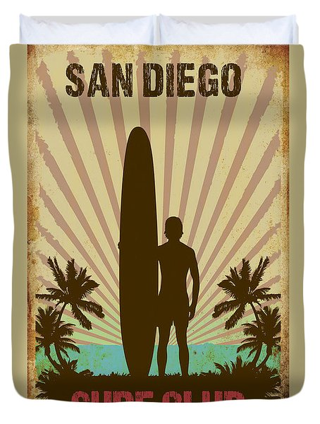 Duvet Cover featuring the digital art San Diego Surf Club by Greg Sharpe