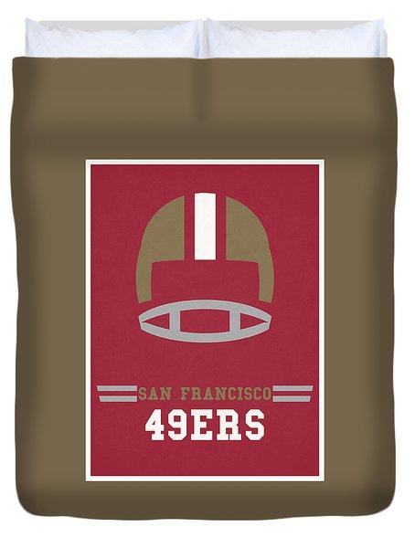 San Francisco 49ers Vintage Art Duvet Cover by Joe Hamilton