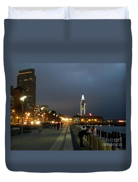 Duvet Cover featuring the photograph San Francisco Bay At Night by Haleh Mahbod