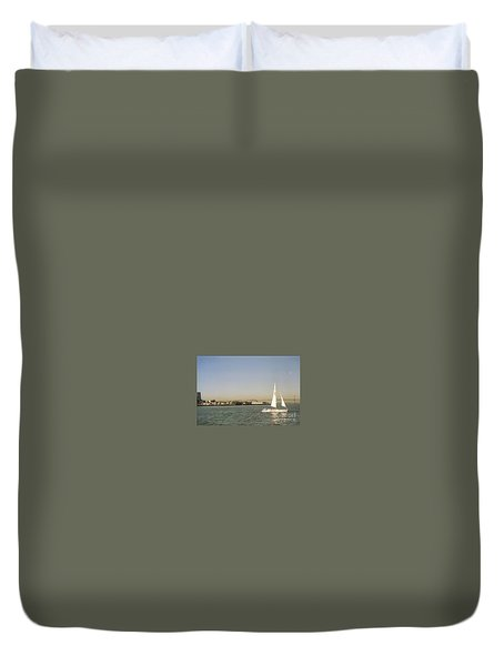 San Francisco Bay Sail Boat Duvet Cover