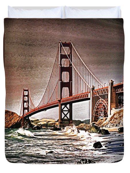 San Francisco Bridge View Duvet Cover by Dennis Cox WorldViews