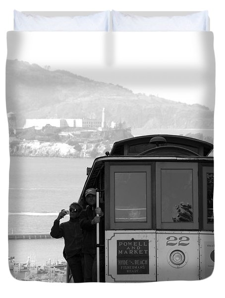 San Francisco Cable Car With Alcatraz Duvet Cover