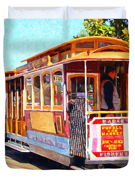 San Francisco Cablecar At Fishermans Wharf . 7d14097 Duvet Cover