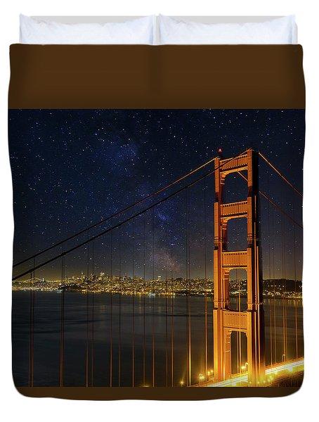 San Francisco City Skyline Through Golden Gate Bridge Duvet Cover by David Gn