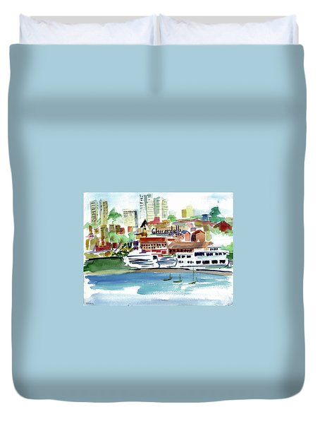 San Francisco Cityfront From Aquatic Park Duvet Cover by Tom Simmons