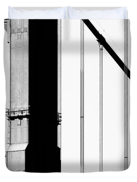 San Francisco Golden Gate Bridge . Black And White Photograph . 7d7954 Duvet Cover by Wingsdomain Art and Photography
