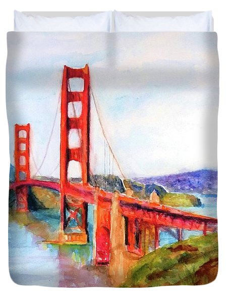 San Francisco Golden Gate Bridge Impressionism Duvet Cover