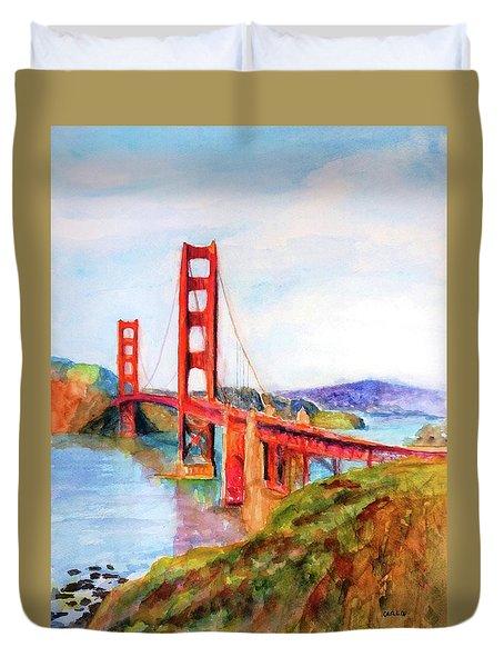 San Francisco Golden Gate Bridge Impressionism Duvet Cover