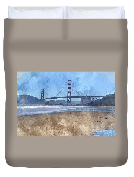 San Francisco Golden Gate Bridge In California Duvet Cover