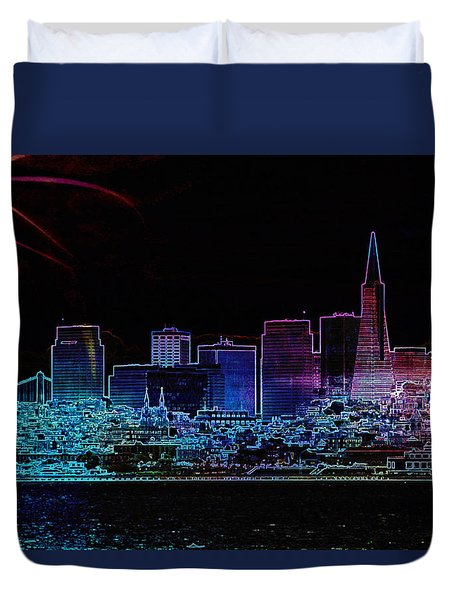 Duvet Cover featuring the photograph San Francisco by Linda Sannuti