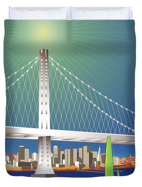 San Francisco New Oakland Bay Bridge Cityscape Duvet Cover