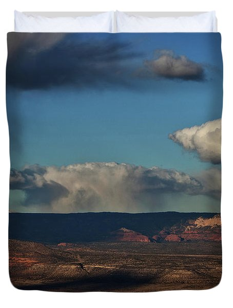 San Francisco Peaks With Snow And Clouds Duvet Cover