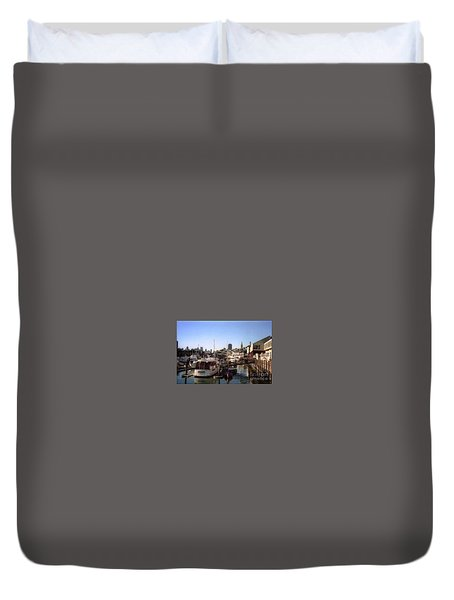 San Francisco Pier And Boats Duvet Cover