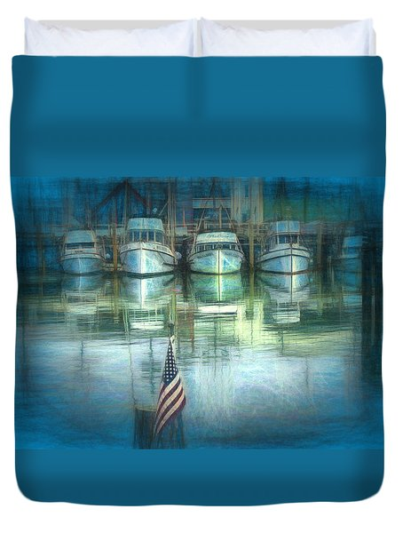 Duvet Cover featuring the drawing San Francisco Pier by Michael Cleere