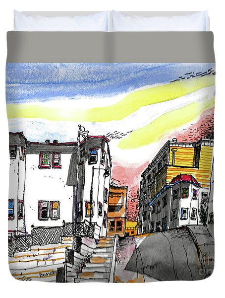 San Francisco Side Street Duvet Cover by Terry Banderas