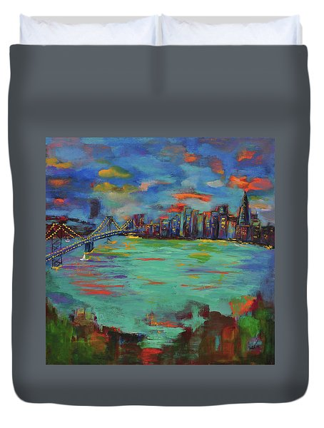 San Francisco Skyline In Sunset Duvet Cover