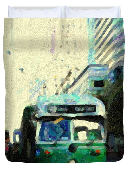 San Francisco Trolley F Line On Market Street Duvet Cover by Wingsdomain Art and Photography