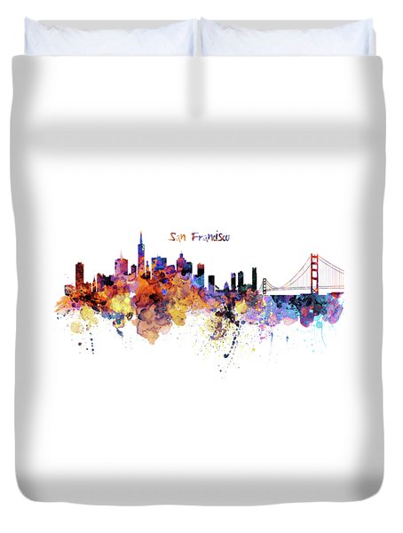 San Francisco Watercolor Skyline Duvet Cover by Marian Voicu