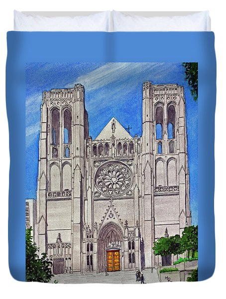 San Francisco's Grace Cathedral Duvet Cover by Mike Robles