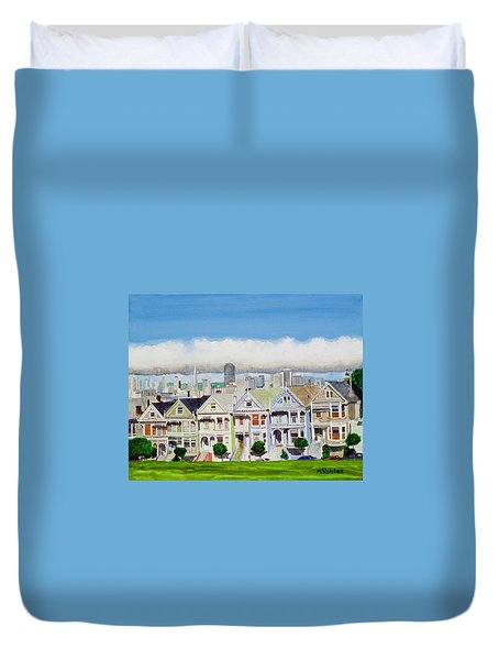San Francisco's Painted Ladies Duvet Cover