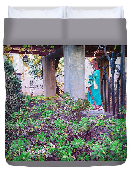Duvet Cover featuring the photograph San Gabriel Mission California - Virgin Mary by Ram Vasudev