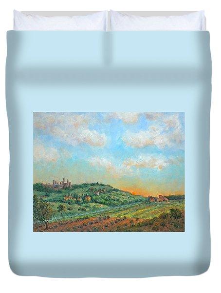 San Gimignano Sunrise Duvet Cover