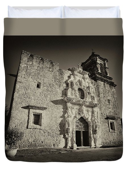 Duvet Cover featuring the photograph San Jose Mission - San Antonio by Stephen Stookey