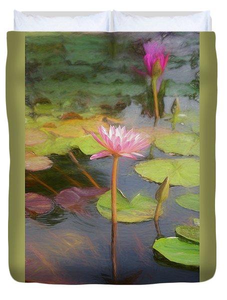 San Juan Capistrano Water Lilies Duvet Cover
