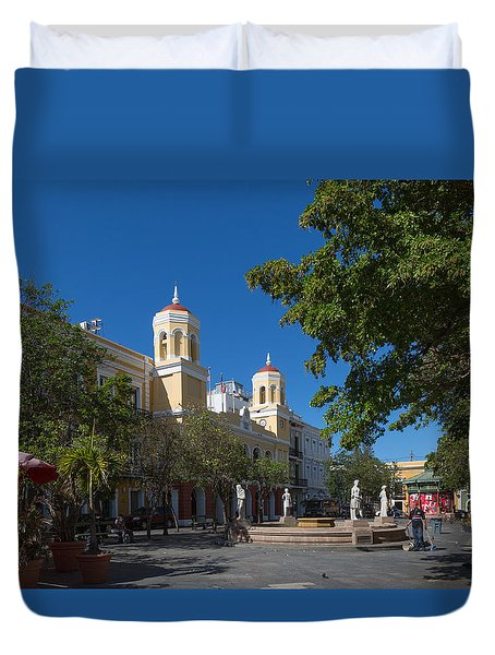 Duvet Cover featuring the photograph San Juan City Hall From Plaza De Armas by Jose Oquendo