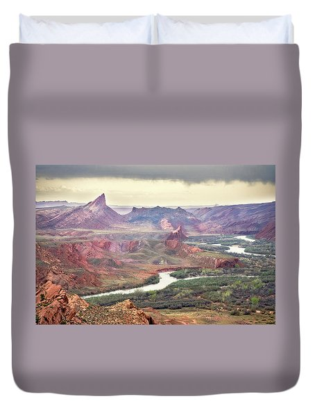 San Juan River And Mule's Ear Duvet Cover