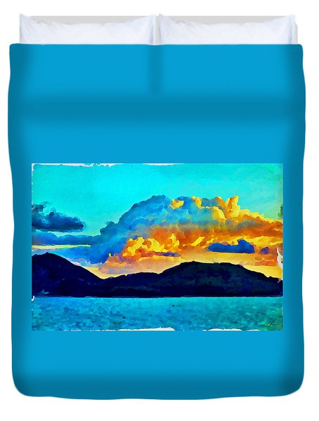 Duvet Cover featuring the painting San Juan Seascape by Joan Reese