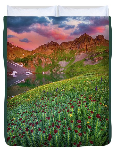 Duvet Cover featuring the photograph San Juan Sunrise by Darren White