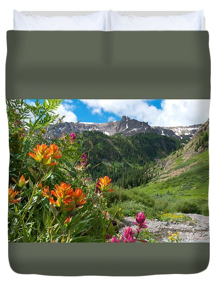 San Juans Indian Paintbrush Landscape Duvet Cover