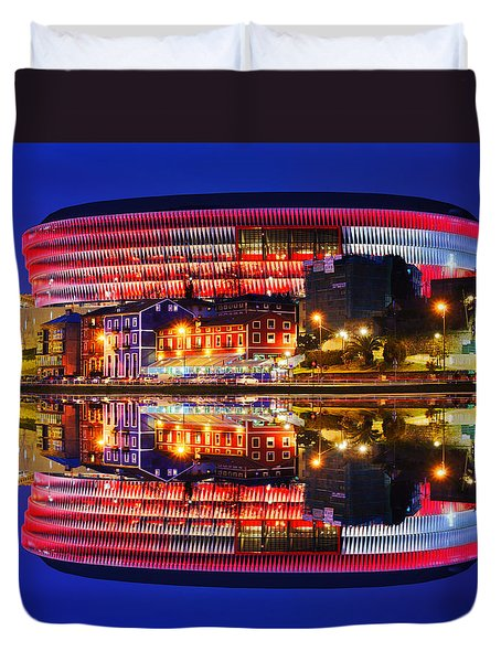 San Mames Stadium At Night With Water Reflections Duvet Cover