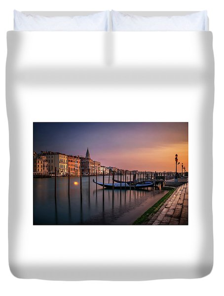 San Marco Campanile With Gondolas At Grand Canal During Calm Sunrise, Venice, Italy, Europe. Duvet Cover