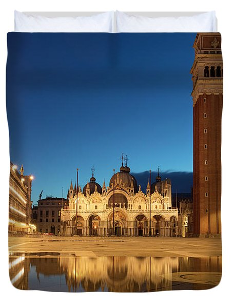 Duvet Cover featuring the photograph San Marco Twilight by Brian Jannsen