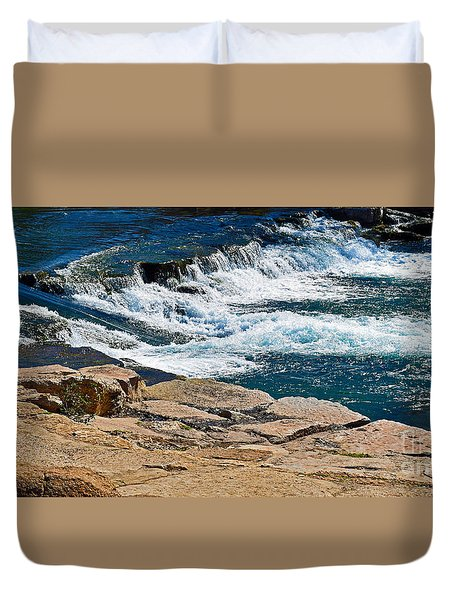 San Marcos River Waterfall  Duvet Cover by Ray Shrewsberry