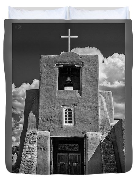 San Miguel Mission Black And White Duvet Cover
