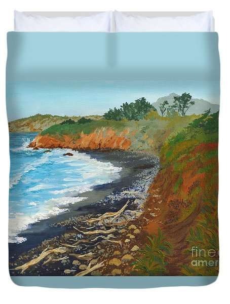 Duvet Cover featuring the painting San Simeon Ca Coast by Katherine Young-Beck