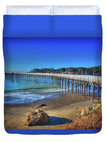 San Simeon Pier California Coast Duvet Cover by James Hammond