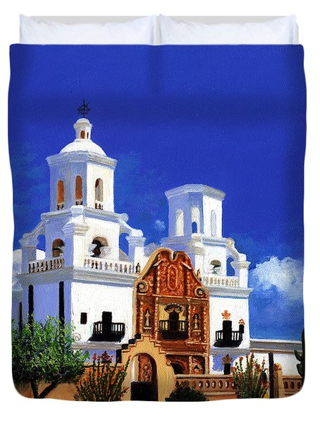 Duvet Cover featuring the painting San Xavier Del Bac Mission by M Diane Bonaparte