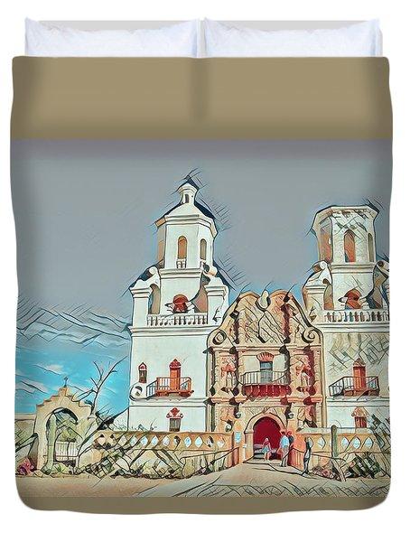 Duvet Cover featuring the photograph San Xavier Del Bac Remix One by Dan McManus