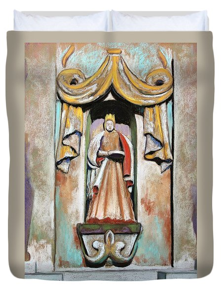 Duvet Cover featuring the painting San Xavier Statue by M Diane Bonaparte