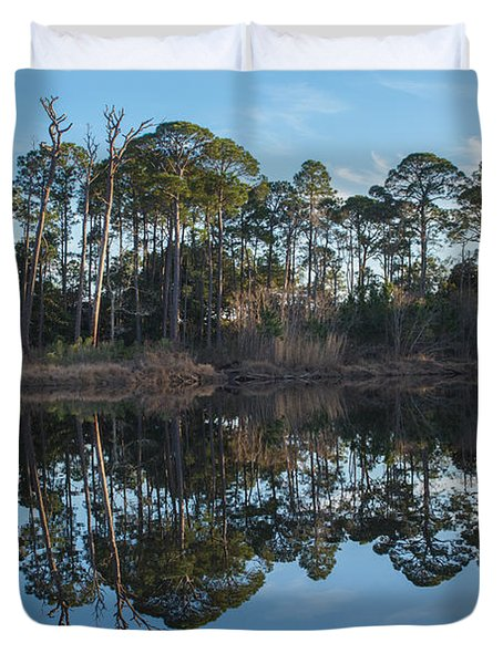 Duvet Cover featuring the photograph Sanctuary Reflection  by Julie Andel