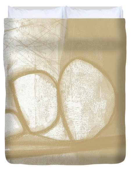 Duvet Cover featuring the painting Sand And Stone 1- Contemporary Abstract Art By Linda Woods by Linda Woods