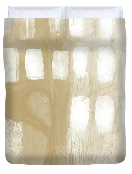 Duvet Cover featuring the painting Sand And Stone 4- Contemporary Abstract Art By Linda Woods by Linda Woods
