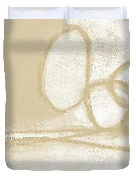 Duvet Cover featuring the painting Sand And Stone 6- Contemporary Abstract Art By Linda Woods by Linda Woods