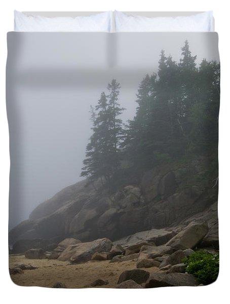 Sand Beach In A Fog Duvet Cover