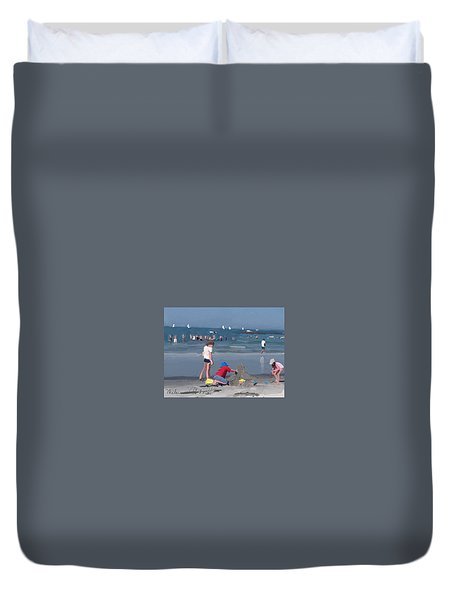 Sand Castle And Sailboats At Wingaersheek Beach Duvet Cover
