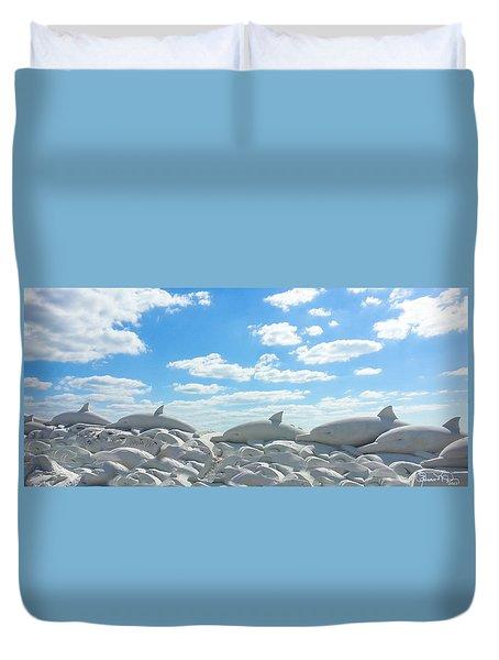Sand Dolphins At Siesta Key Beach Duvet Cover by Susan Molnar